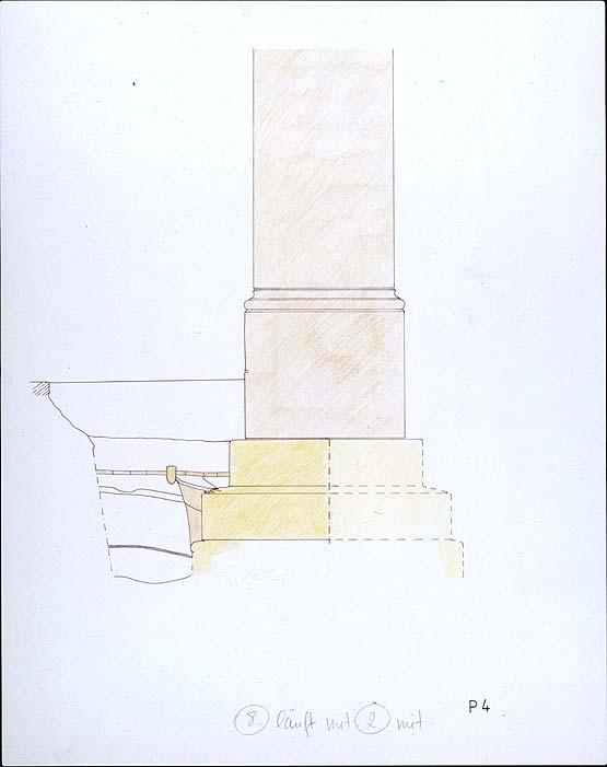 Abb 2: Duderstadt, Rathaus, Nordprofil im Bereich des abgebrochenen Teils der Südmauer des Kaufhauses mit Fundamentresten des nicht ausgeführten Anbaus.