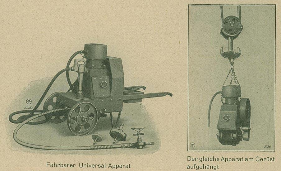 """Abb. 12: Der in den 1920er Jahren entwickelte, fahrbare """"Universal-Apparat"""" der Maschinenfabrik Eßlingen konnte zum Nieten, Schleifen, Bohren und Meißeln gleichzeitig genutzt werden; das Nieten geschah dabei mit einem Presslufthammer. [Rasch 1928, S.55]"""