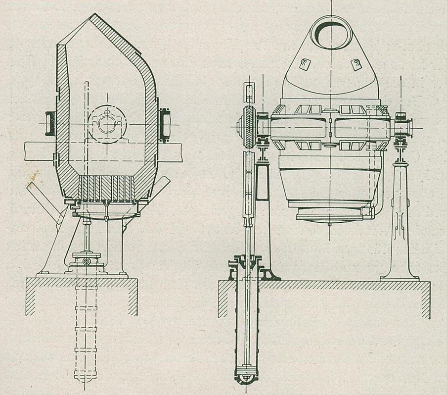 Abb. 7: Thomas-Birne, Ansicht und Schnitt. [Verein Deutscher Eisenhüttenleute 1918, S.85]