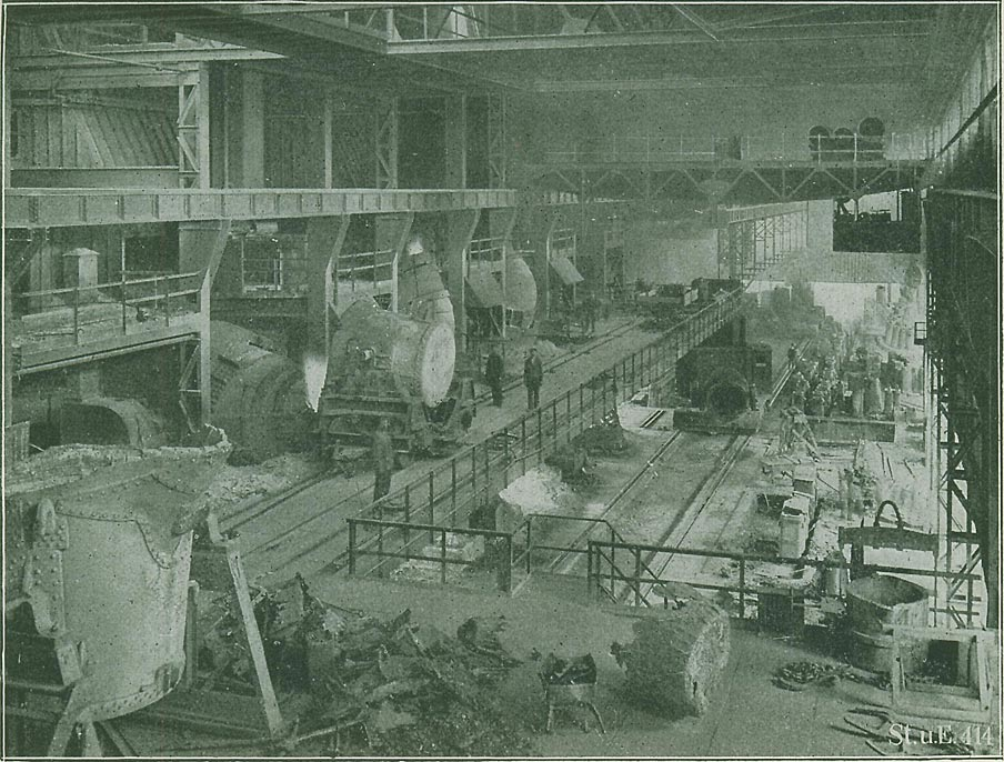 Abb. 8: Blick in ein Thomaswerk, vor 1918. [Verein Deutscher Eisenhüttenleute 1918, S.95]