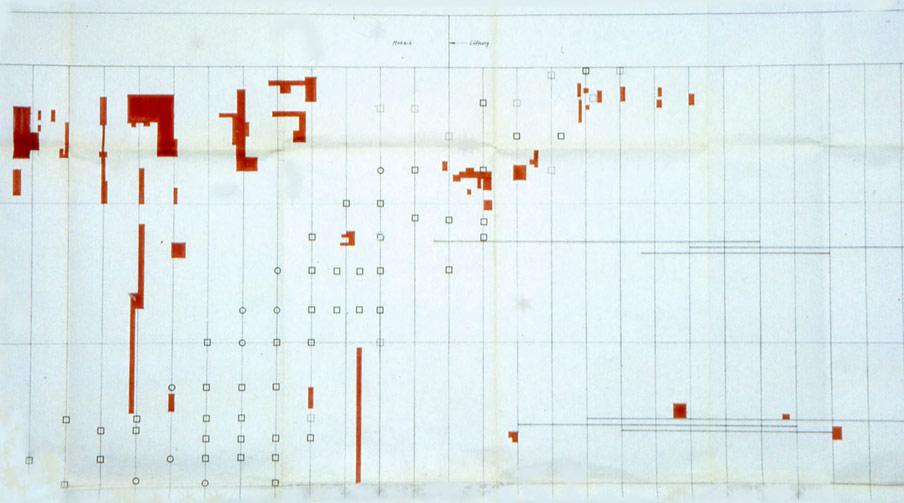 Abb. 19 Revisionsplan mit den auf der konkav gekrümmten Fassade des Beethovensaales reprofilierten Flächen