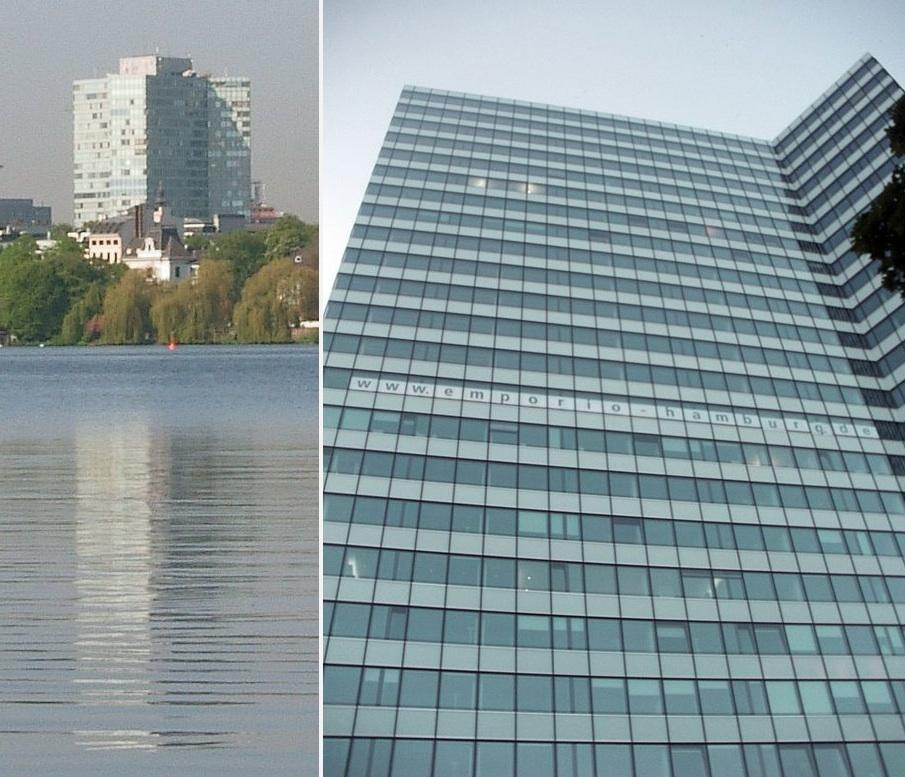 Das ehemalige Unilever und heutige Emporio Hochhaus in Hamburg, Architekten: Henrich Petschnigg und Partner (HPP),1961 bis 1964. Vor der Sanierung 2006 und nach der Sanierung 2012 (Foto: http://creativecommons.org/licenses/by-sa/3.0/)