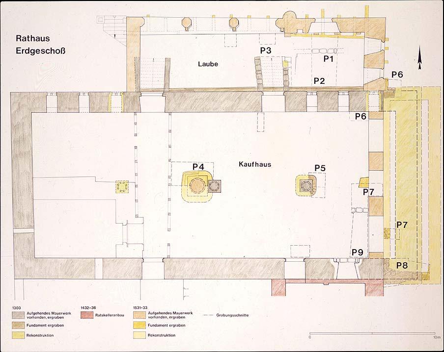 Abb 1: Duderstadt, Rathaus, Ergrabener Kaufhaus- und Laubengrundriss