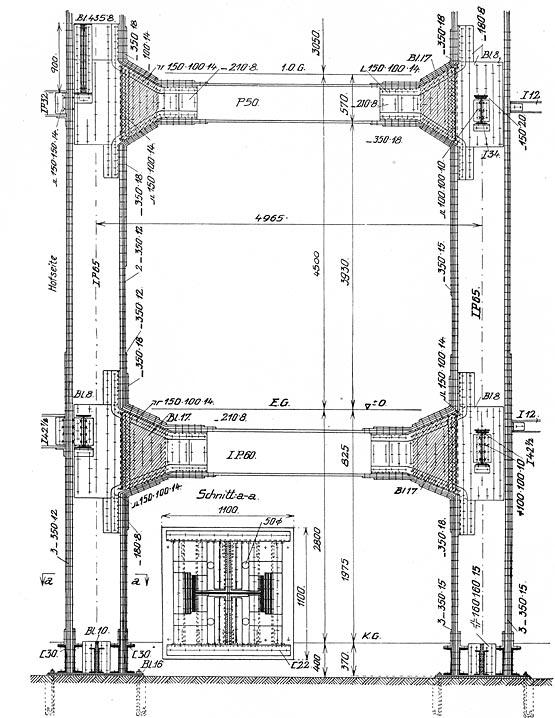 Abb. 22: Konstruktive Ausbildung eines Stockwerksrahmens mit aufwendigen Rahmenecken, Woga-Hotel Berlin [Hawranek 1931, Abb.173]