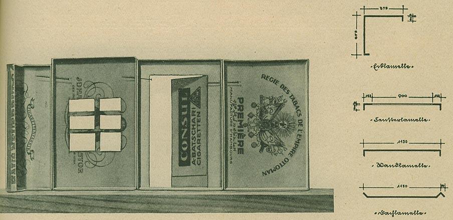"Abb. 24: ""Stahllamellen-Bauweise"", System Blecken, demonstriert an Zigaretten-Schachtel-Decken. Mit vier Lamellengrundtypen (Dachlamelle, Wandlamelle, Fensterlamelle und Ecklamelle) lässt sich der gesamte Stahl-Plattenbau konstruieren. [Rasch 1928, S.103]"