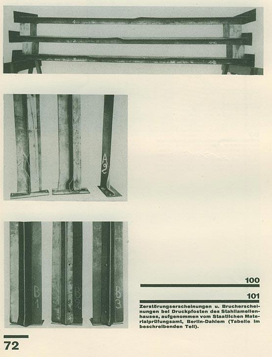 Abb. 9: Ergebnisse von Druckversuchen an speziell für den Stahllamellenbau entwickelten Stützenprofilen, durchgeführt im Staatlichen Material-Prüfungsamt, Berlin-Dahlem, dem Vorläufer der BAM Berlin, 1927. [Spiegel 1928]