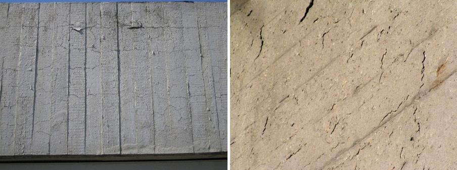 Abb. 1: Rissbildungen in einer Bauteilrandschicht als Folge von Eigenspannungen mit dadurch bedingten Ablösungen der aufgebrachten Lasur (links) und Absprengungen der Bauteilrandschicht als Folge korrodierender Bewehrung (rechts)