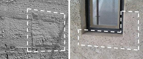 """Abb. 14: Detail einer instand gesetzten Betonoberfläche der zwischen 1966 und 1969 erbauten Norishalle in Nürnberg (links) und instand gesetzte Laibung eines Fensters des in den Jahren 1916-17 errichteten Wasserturms """"Kavalier Dallwigk"""" in Ingolstadt (rechts). Die reprofilierten Bereiche sind jeweils durch eine weiße, gestrichelte Linie im Bild kenntlich gemacht"""